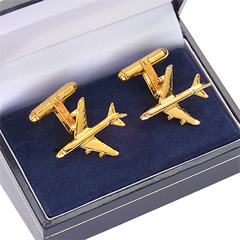 boeing 747-400 cufflinks gold